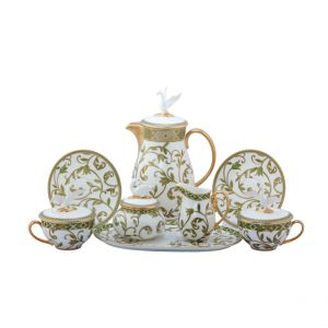 Neobe 12 Piece Tea Set, Gold Rim
